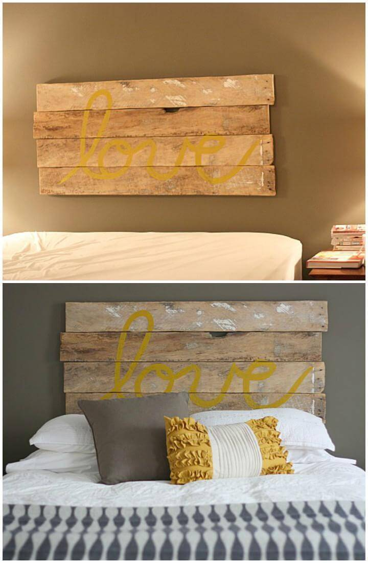 DIY Rustic Wood Quoted Headboard
