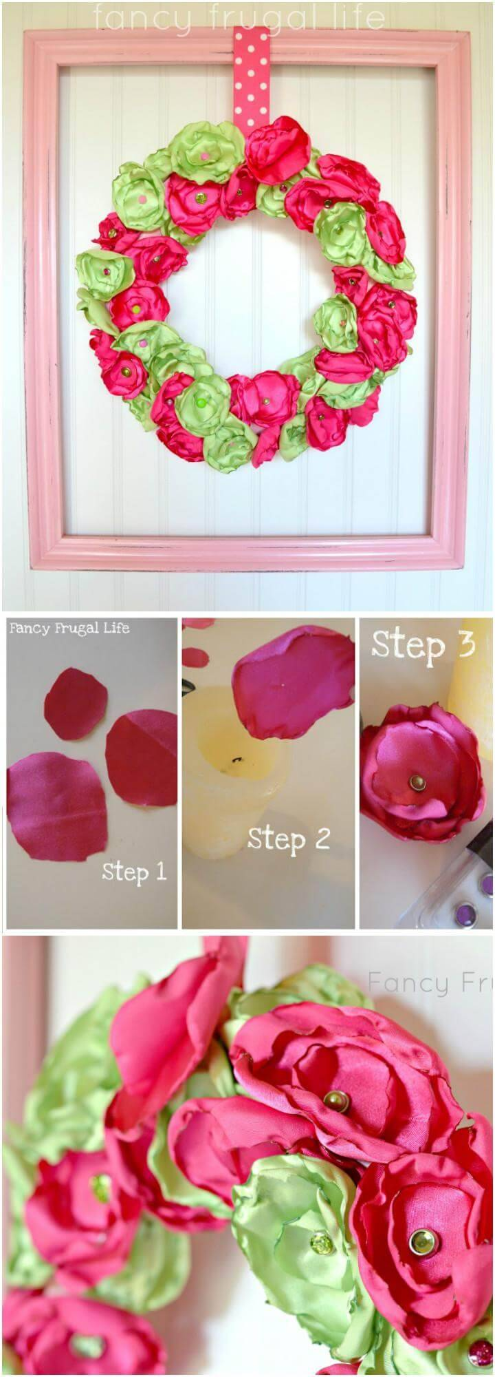 DIY Satin Flowers Spring Wreath