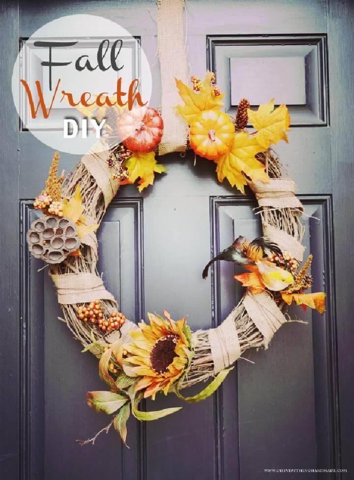 DIY Self-Made Front Door Fall Wreath