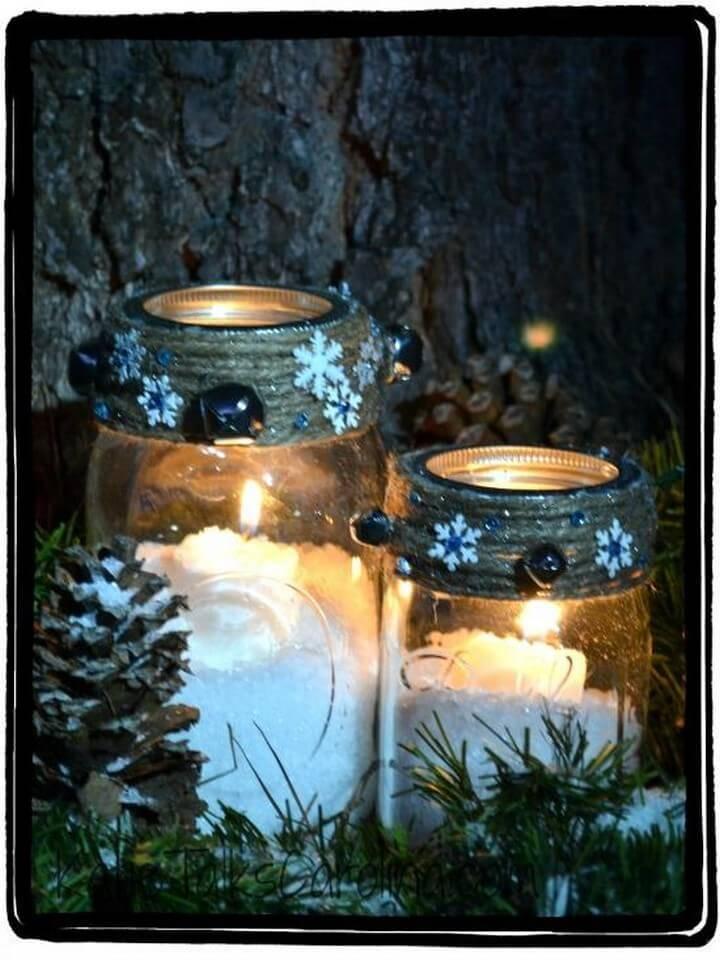 DIY Snowy Mason Jar Winter Candle Gift