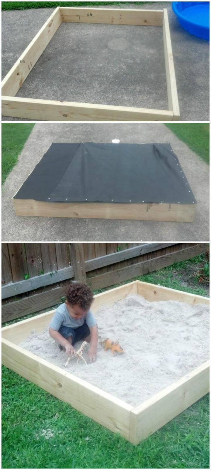DIY Super Simple and Quick Wooden Sandbox