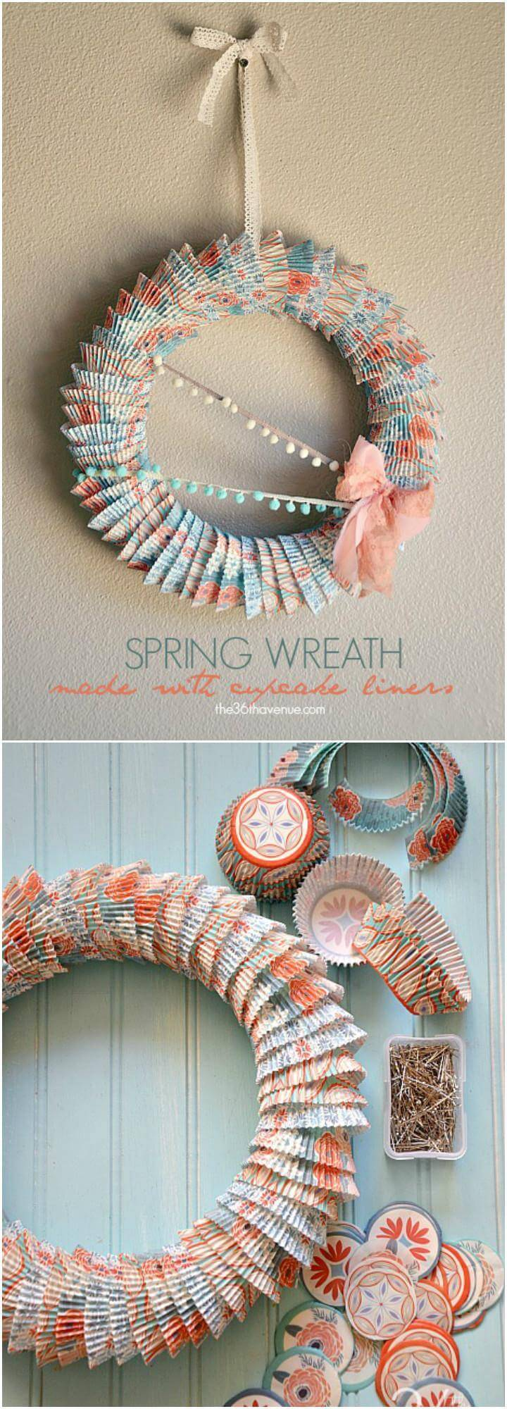 DIY Superb Wreath Made of Cupcake Liners