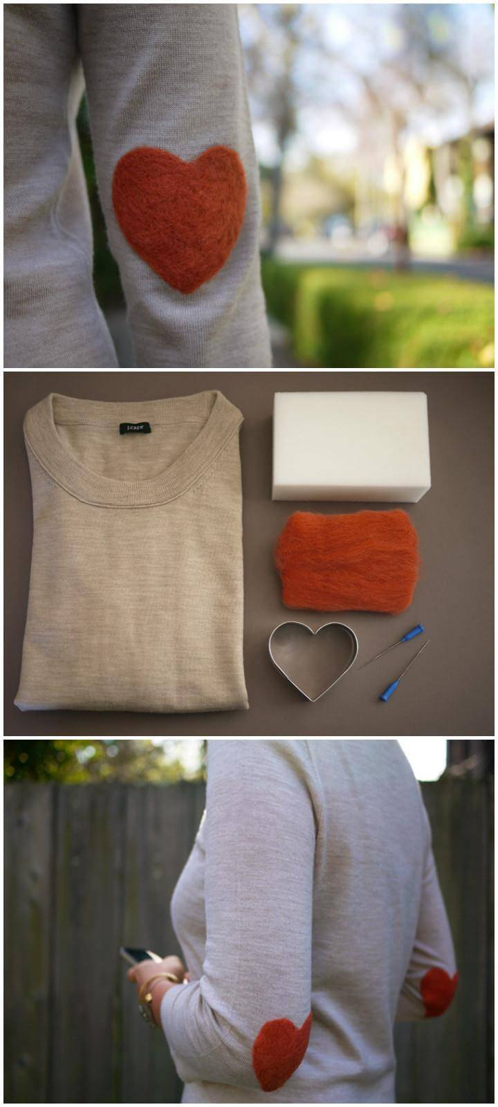 DIY T-Shirt Elbow Heart Patch