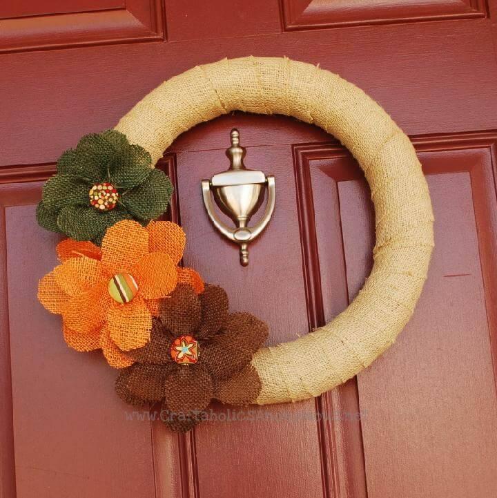 DIY Timeless Burlap Fall Wreath