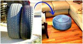 DIY Tire Ottoman Tutorial