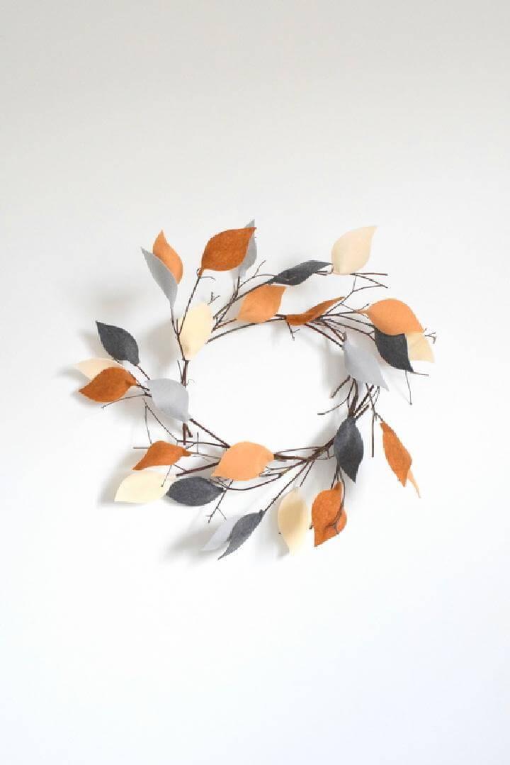 DIY Twig Fall Reath with Felt Leaves