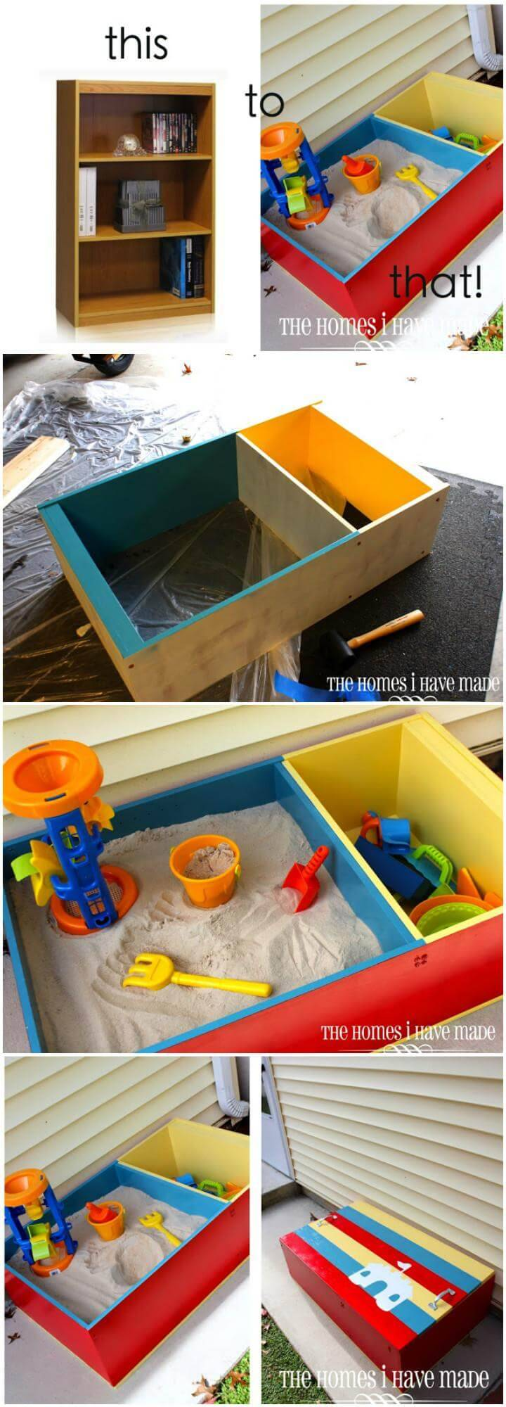 DIY Upcycled Mini Bookcase into Color Block Kids Sandbox