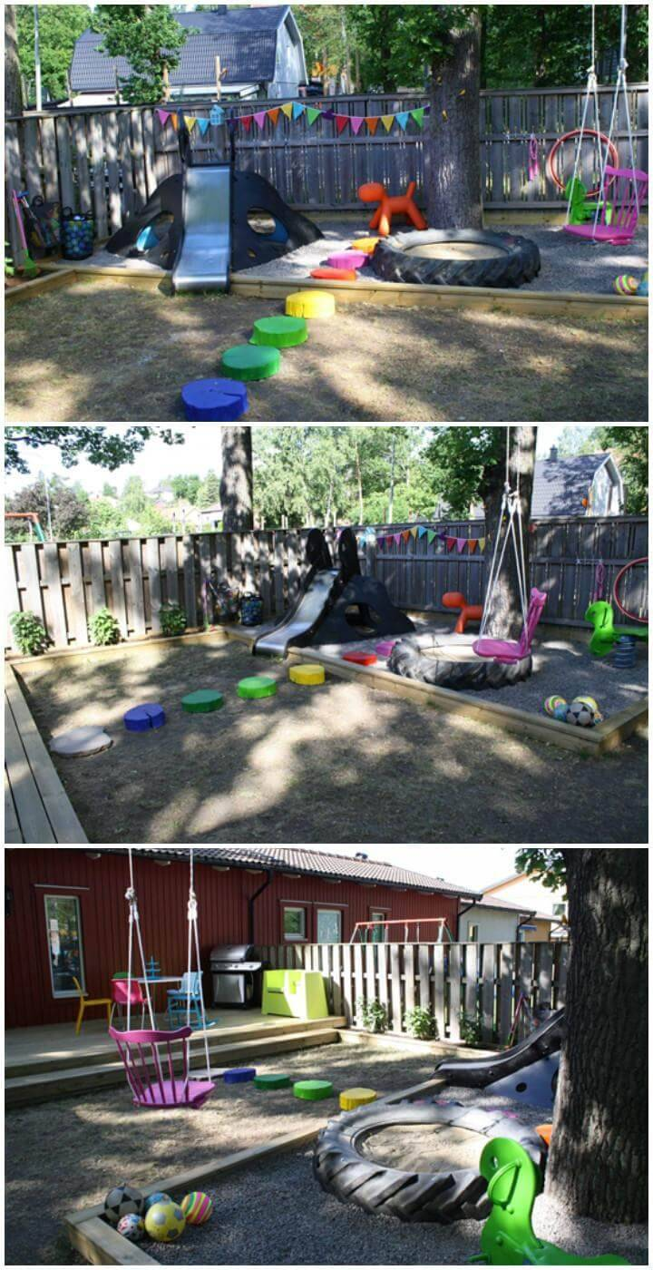 DIY Upcycled Old Big Tire Sandbox