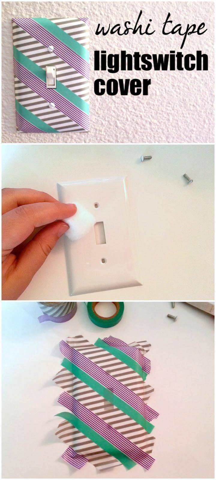 DIY Updated Washi Tape Lightswitch Cover