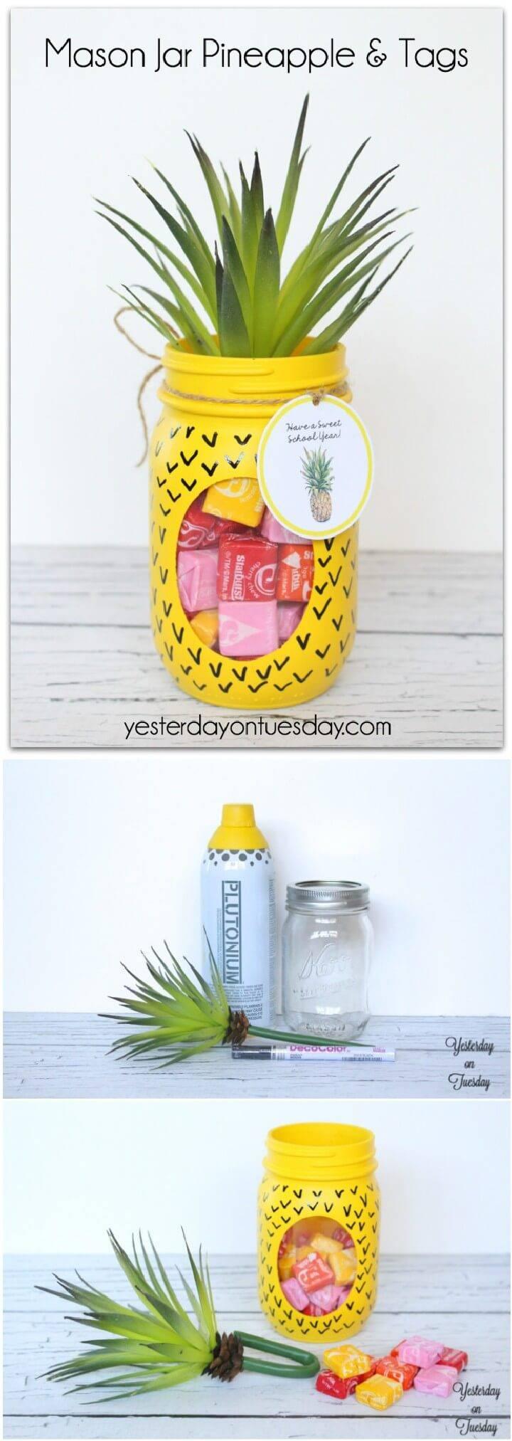 DIY Wonderful Mason Jar Pineapple Candy Gift