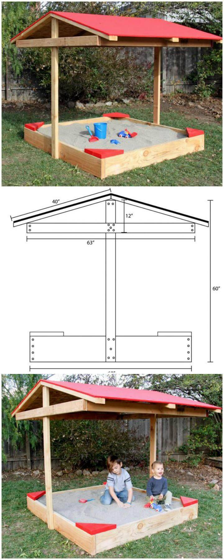 DIY Wooden Sandbox with Chevron Roof - Free Plans and Tutorial