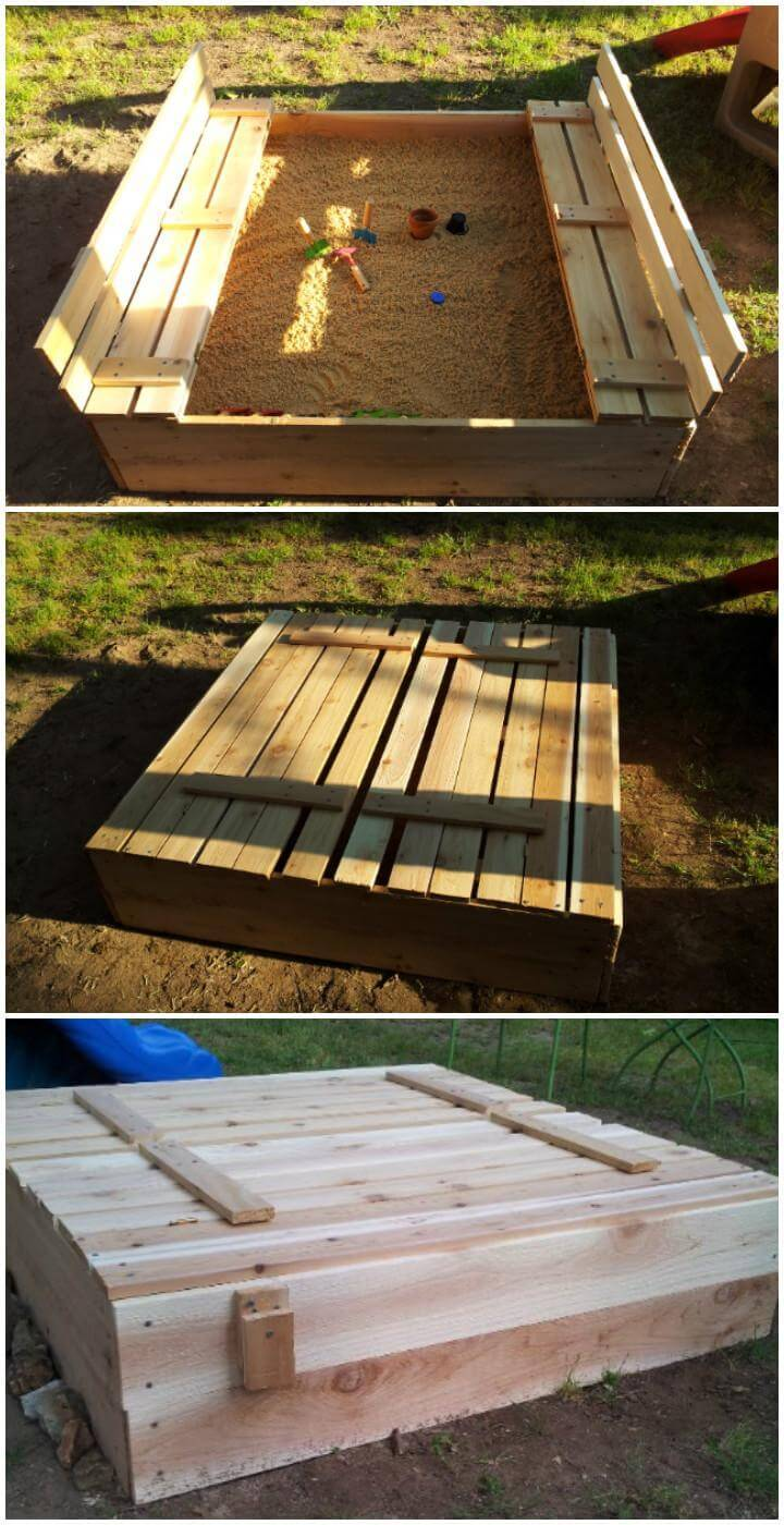 DIY Wooden Self-Made Sandbox with Attached Benches