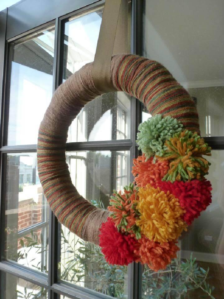 DIY Yarn Pom-Pom Fall Wreath