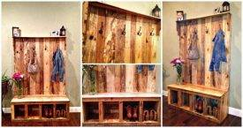 pallet hall tree or Pallet coat rack or Pallet shoe rack