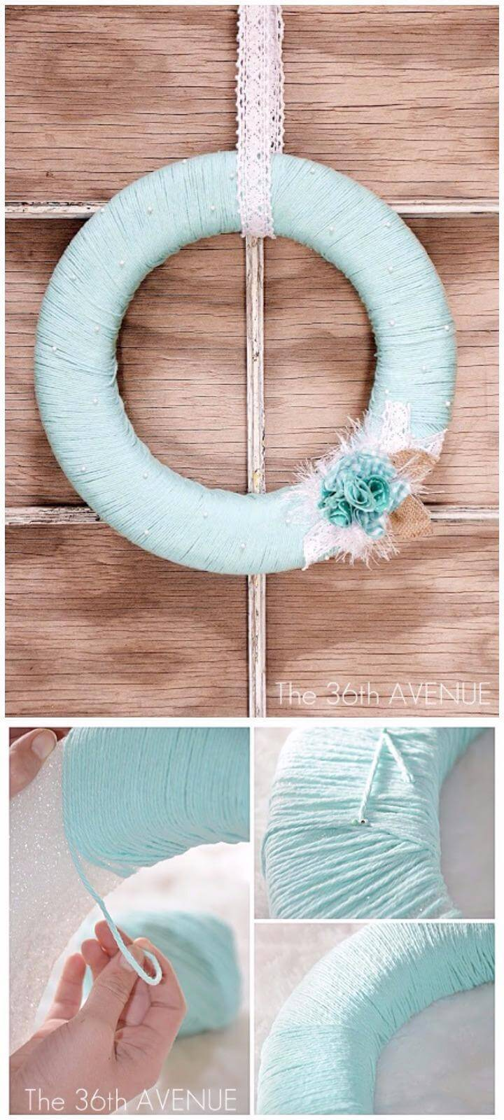 DIY yarn Wrapped Beautiful Spring Wreath