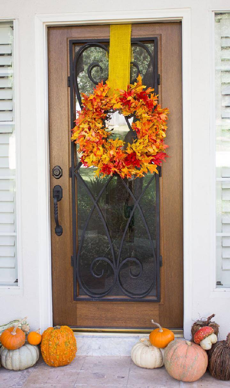 Easy Fall Leaf Door Wreath