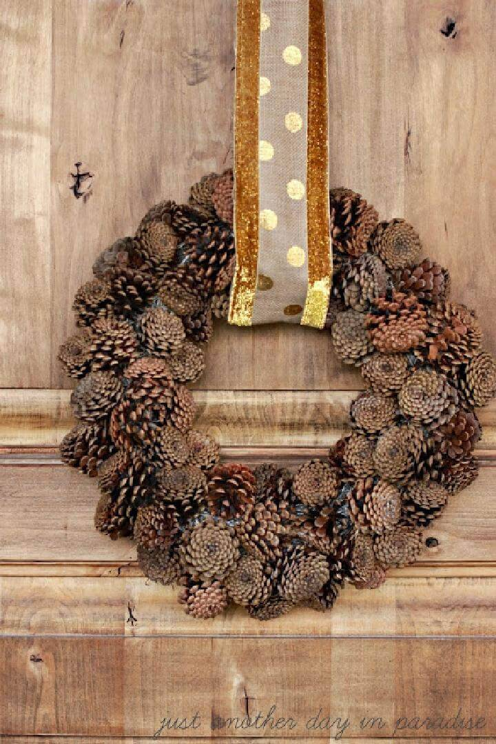 Easy Pinecone Wreath with Gold Sash