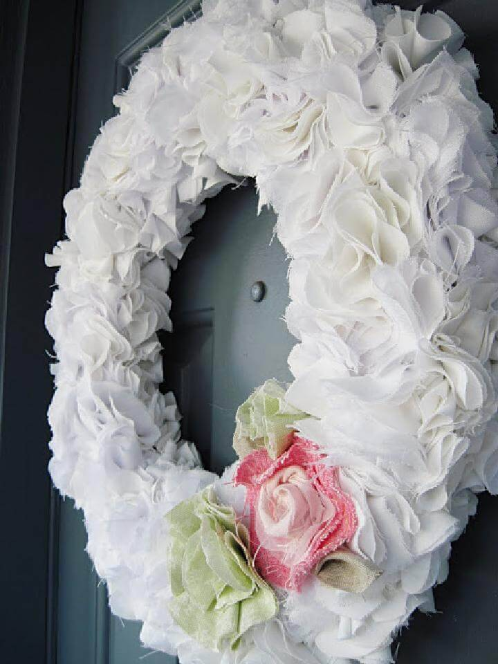 Easy Ruffly White DIY Wreath