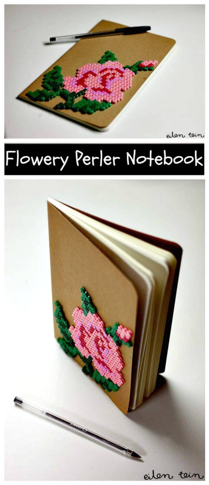 Flowery Perler Notebook