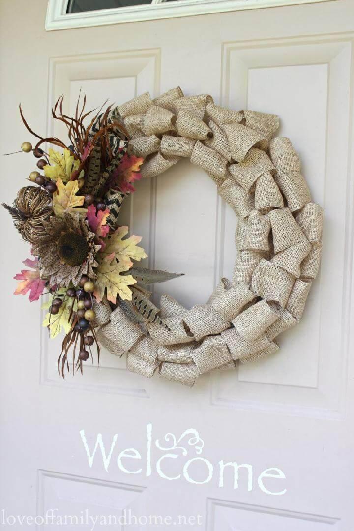 Handcrafted Beautiful Burlap Fall Wreath