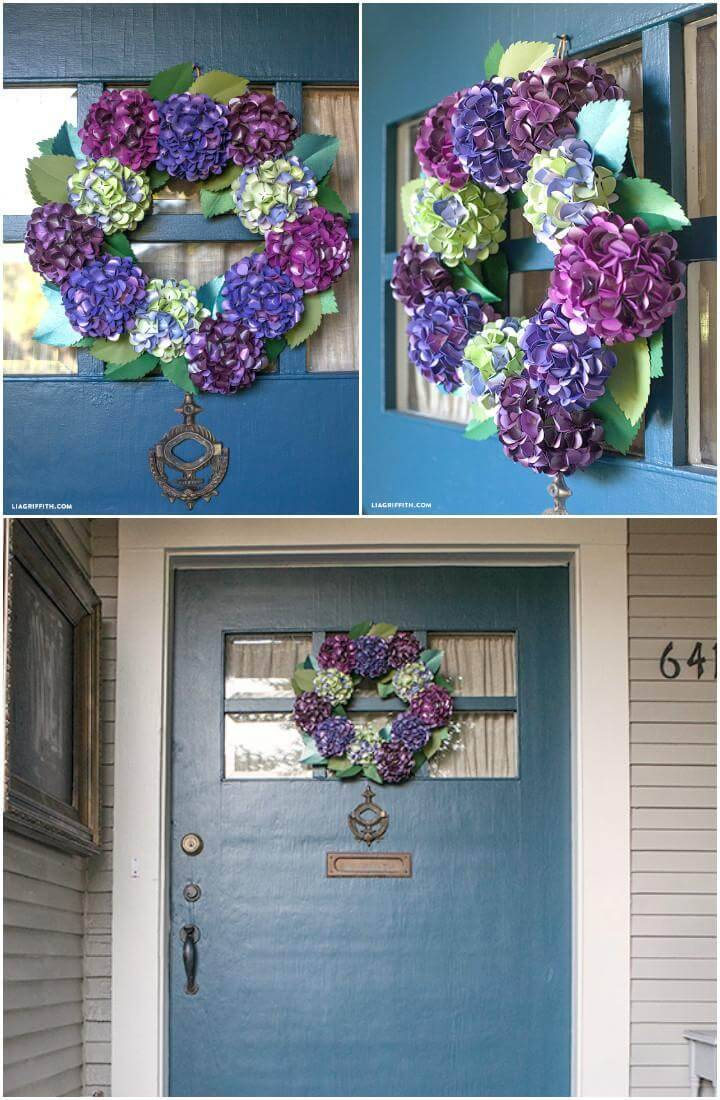 Handcrafted DIY Paper Hydrangea Wreath
