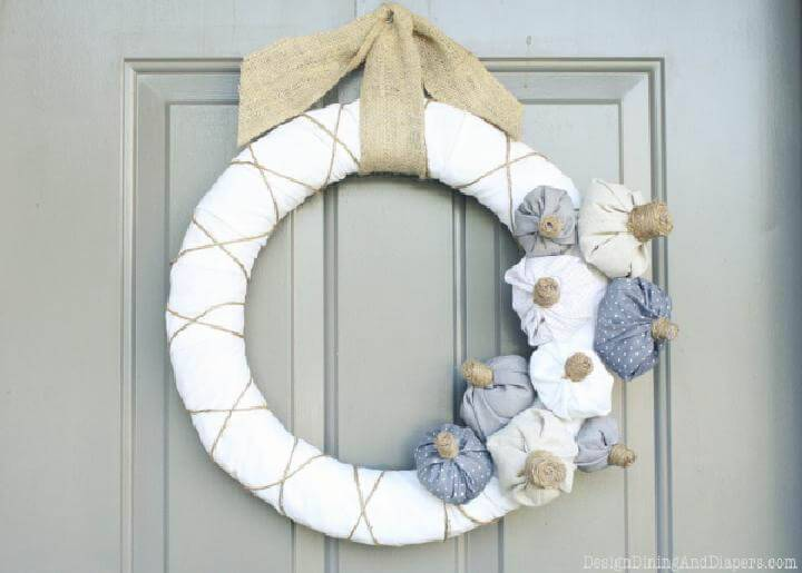 Handcrafted Fabric Pumpkin Fall Wreath