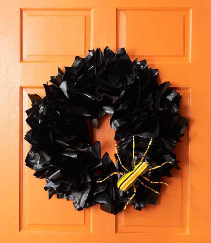 Handcrafted Halloween Newspaper Wreath