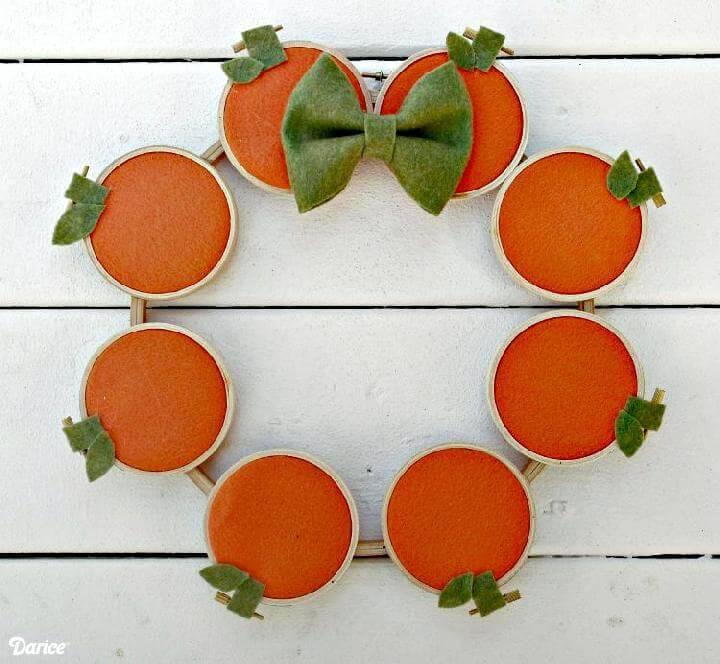 Handmade Embroidery Hoop Pumpkin DIY Fall Wreath