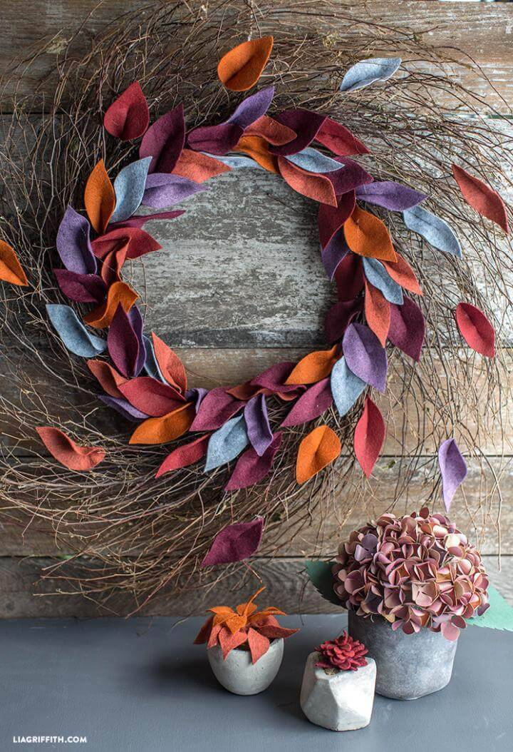 Handmade Felt Leaf Fall Wreath
