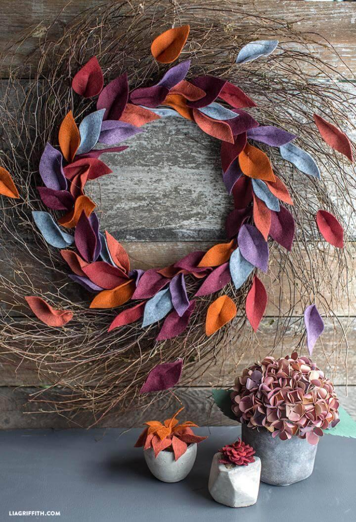 Handmade Felt Leaf Fall Wreath