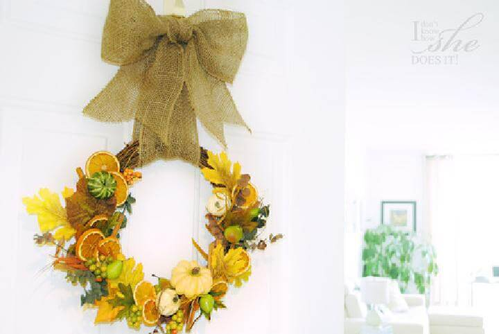 Homemade Fall Inspired Door Wreath