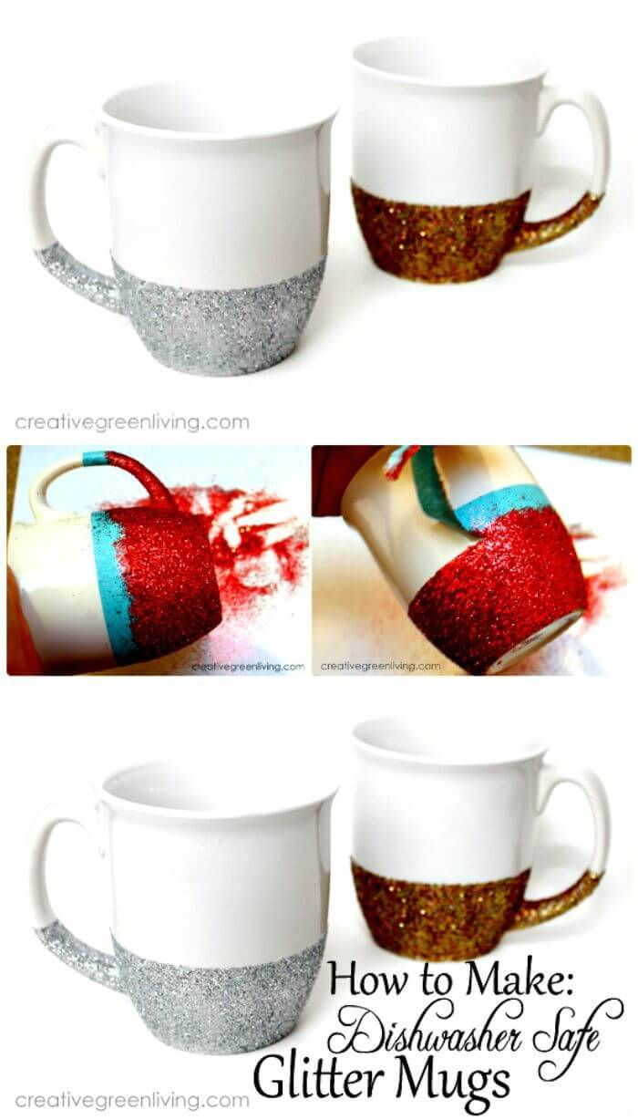 How to Make Dishwasher Safe Glitter Dipped Mugs
