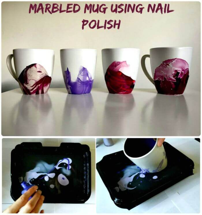 Marbled Mug Using Nail Polish