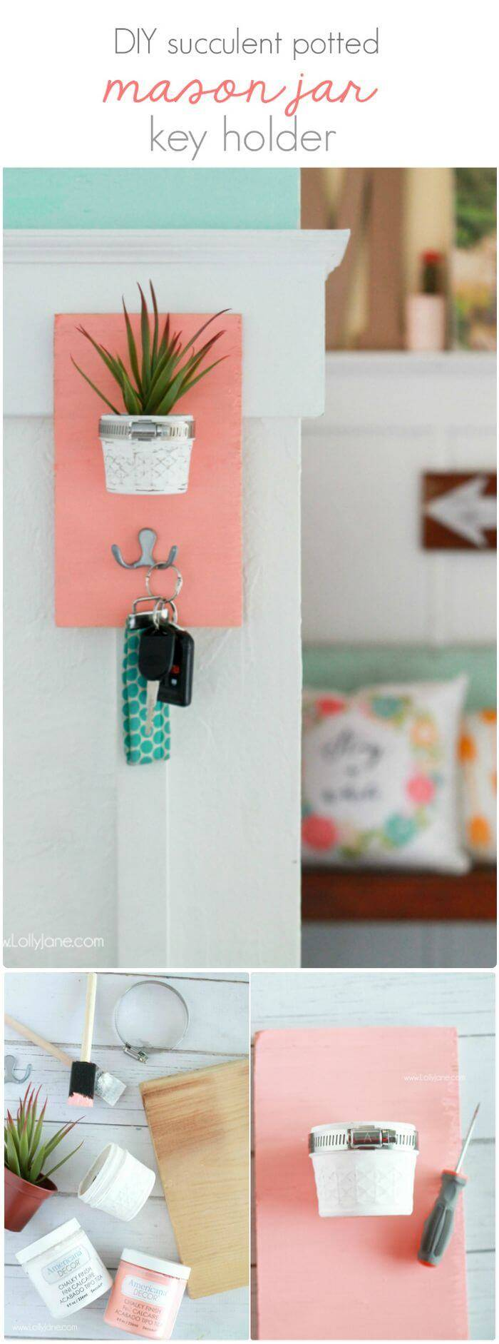 Potted Mason Jar Key Holder