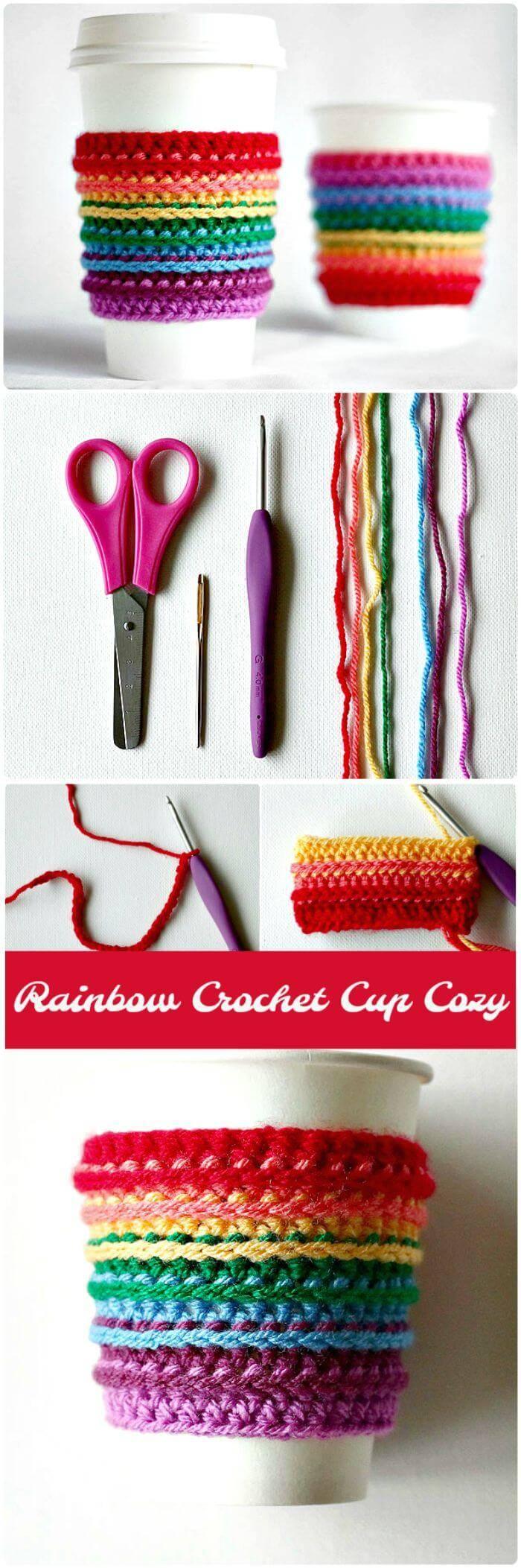 Rainbow Crochet Cup Cozy