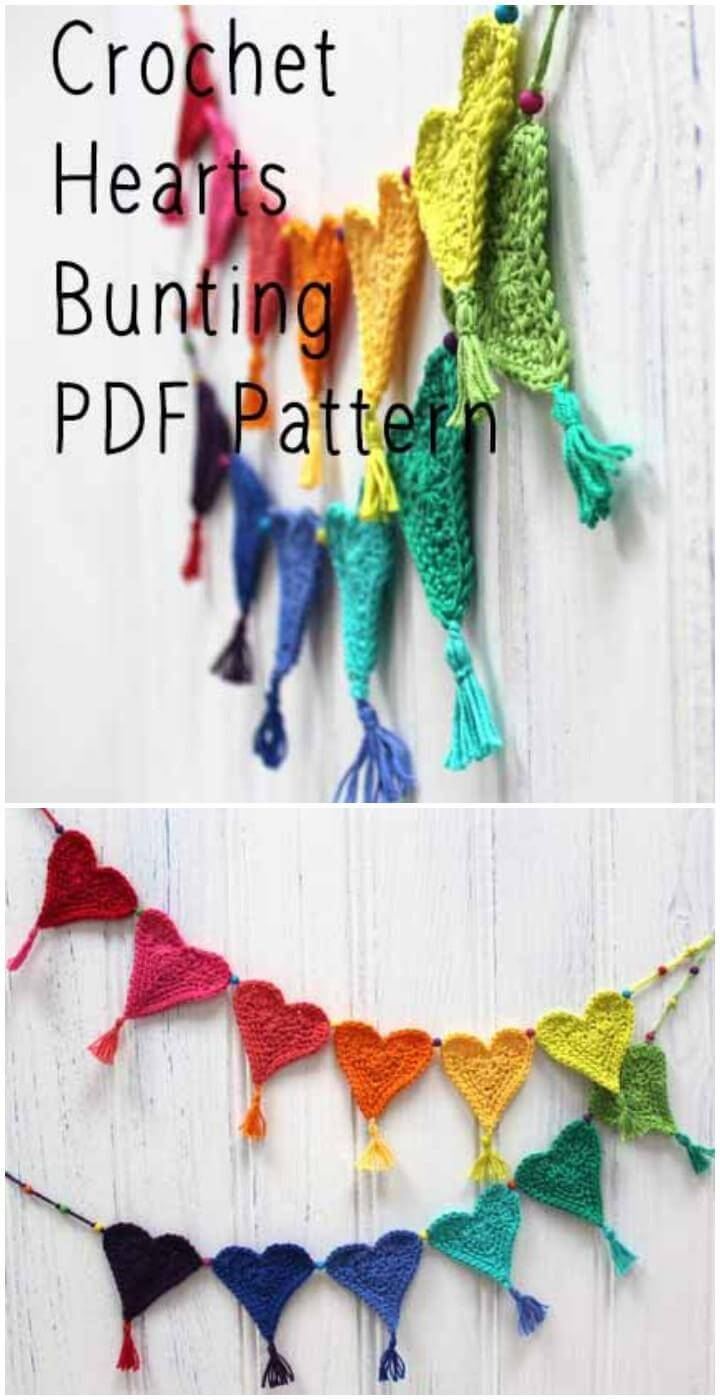 Rainbow Crochet Heart Buntings