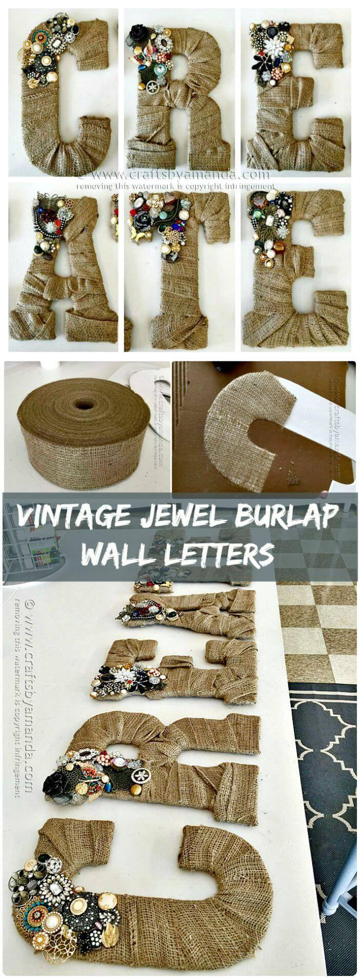 Vintage Jewel Burlap Wall Letters