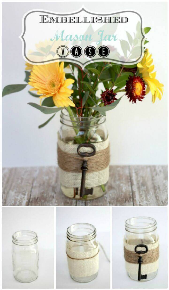 DIY A Glimpse Of Spring And An Embellished Mason Jar Vase