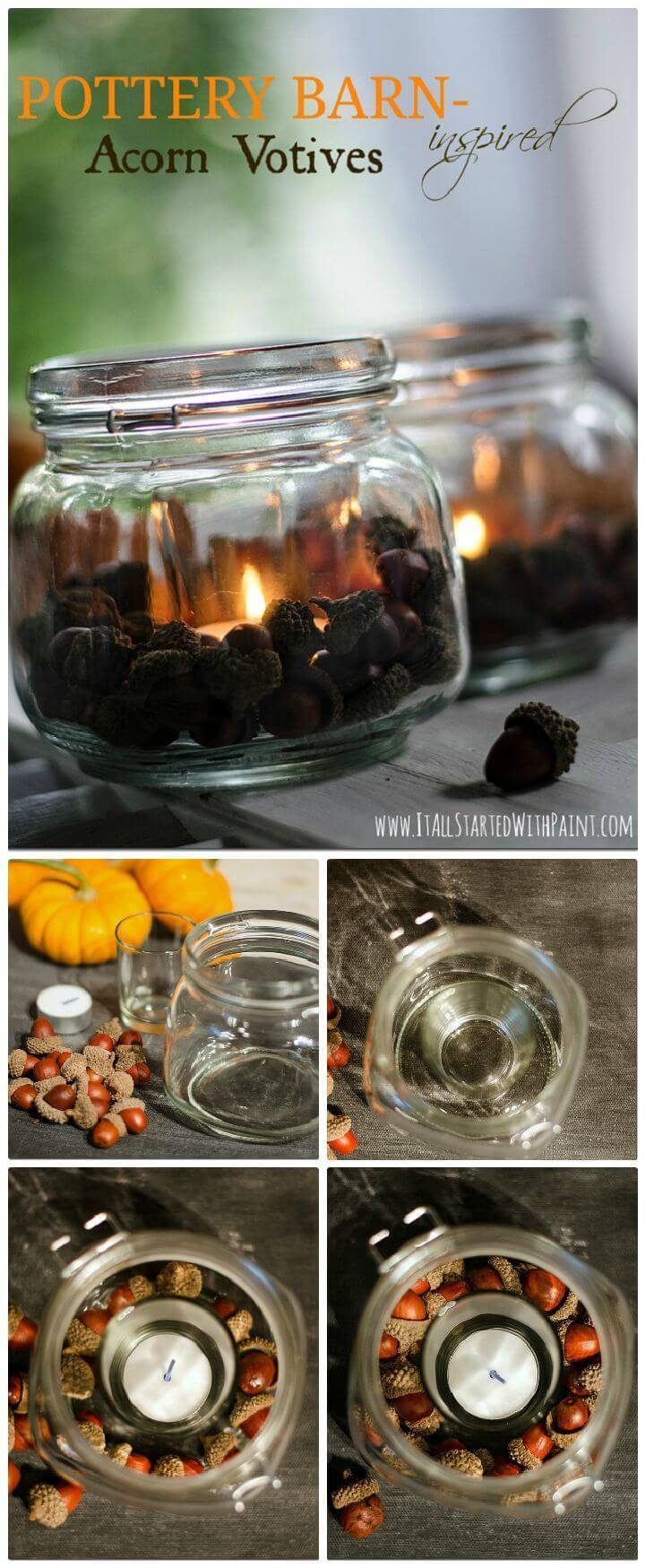 DIY Acorn Mason Jar Votives