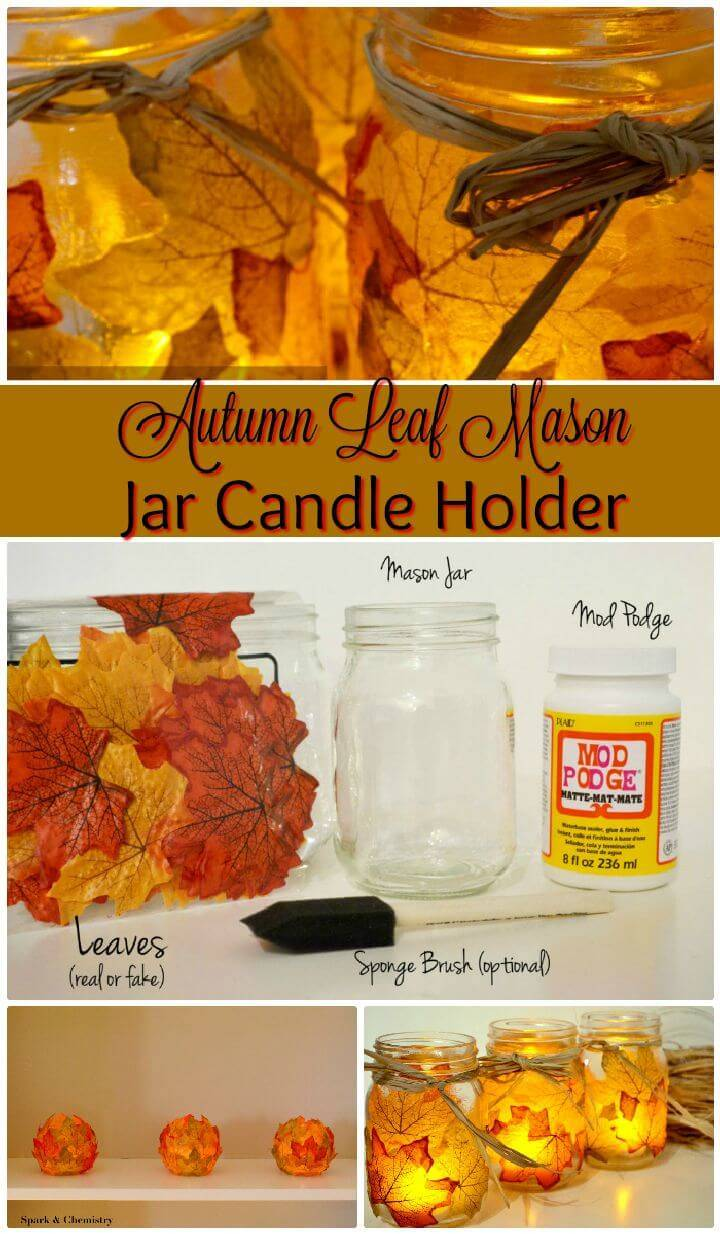 DIY Autumn Leaf Mason Jar Candle Holder