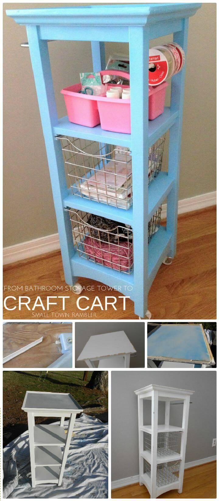 DIY Bathroom Storage Tower Repurposed Into a Craft Cart