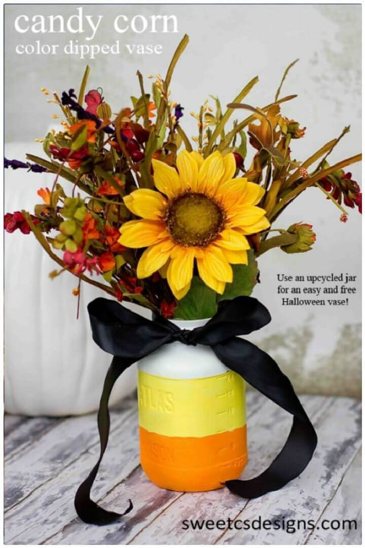 DIY Candy Corn Color Dipped Vase