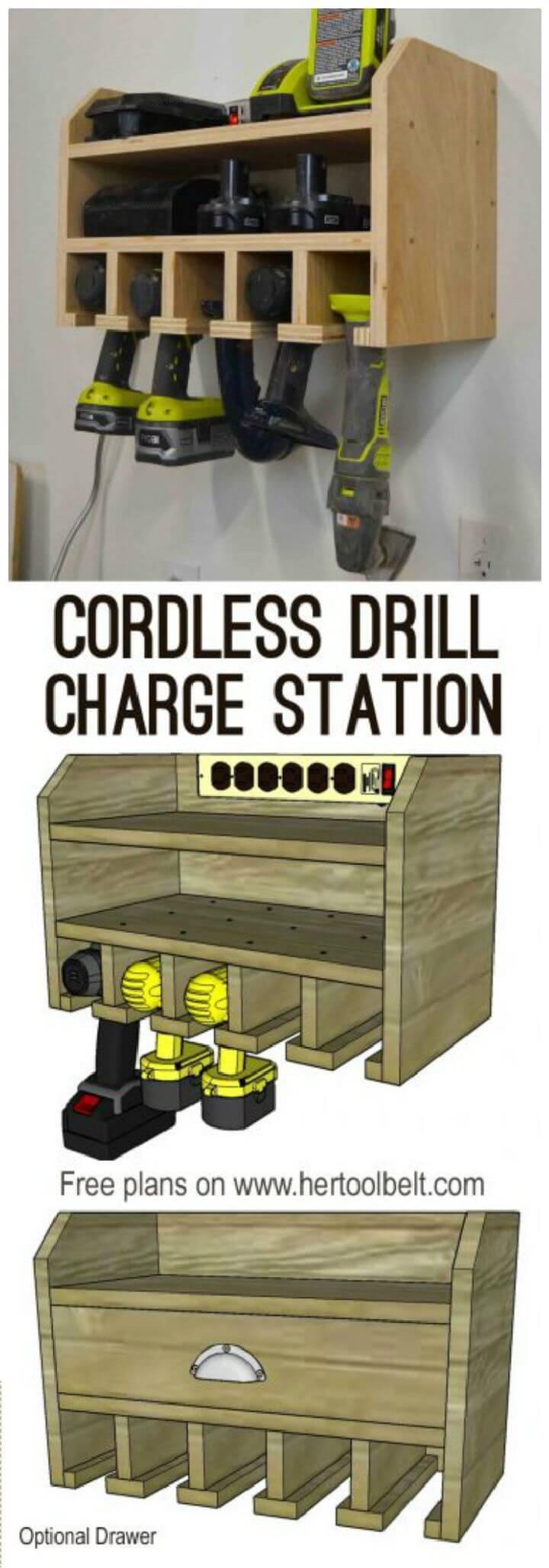 DIY Cordless Drill Storage Charging Station