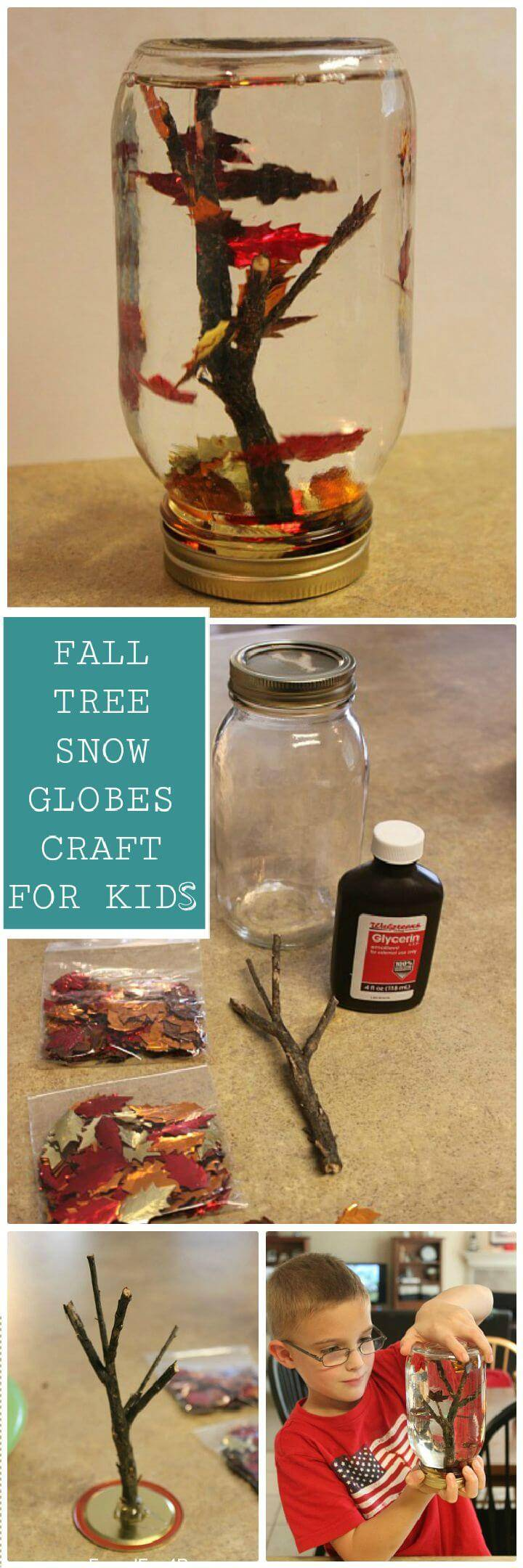 DIY Fall Tree Snow Globes Craft For Kids