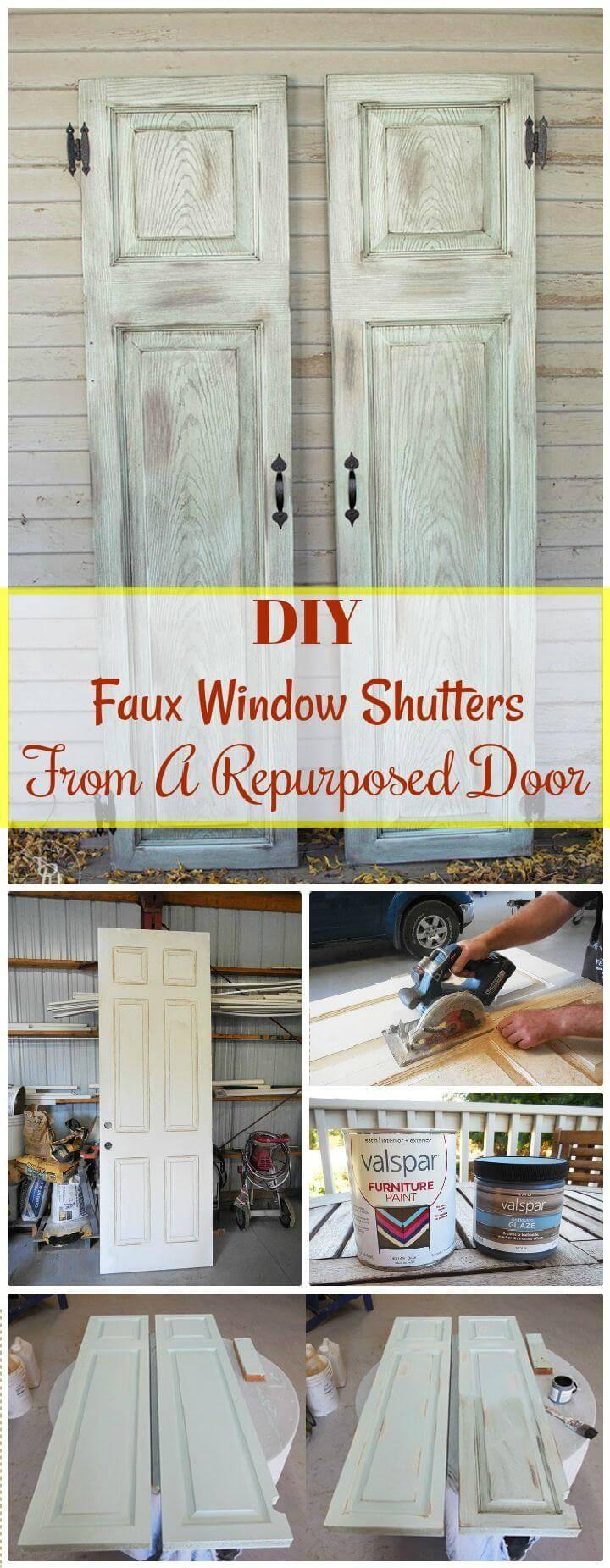 DIY Faux Window Shutters From A Repurposed Door