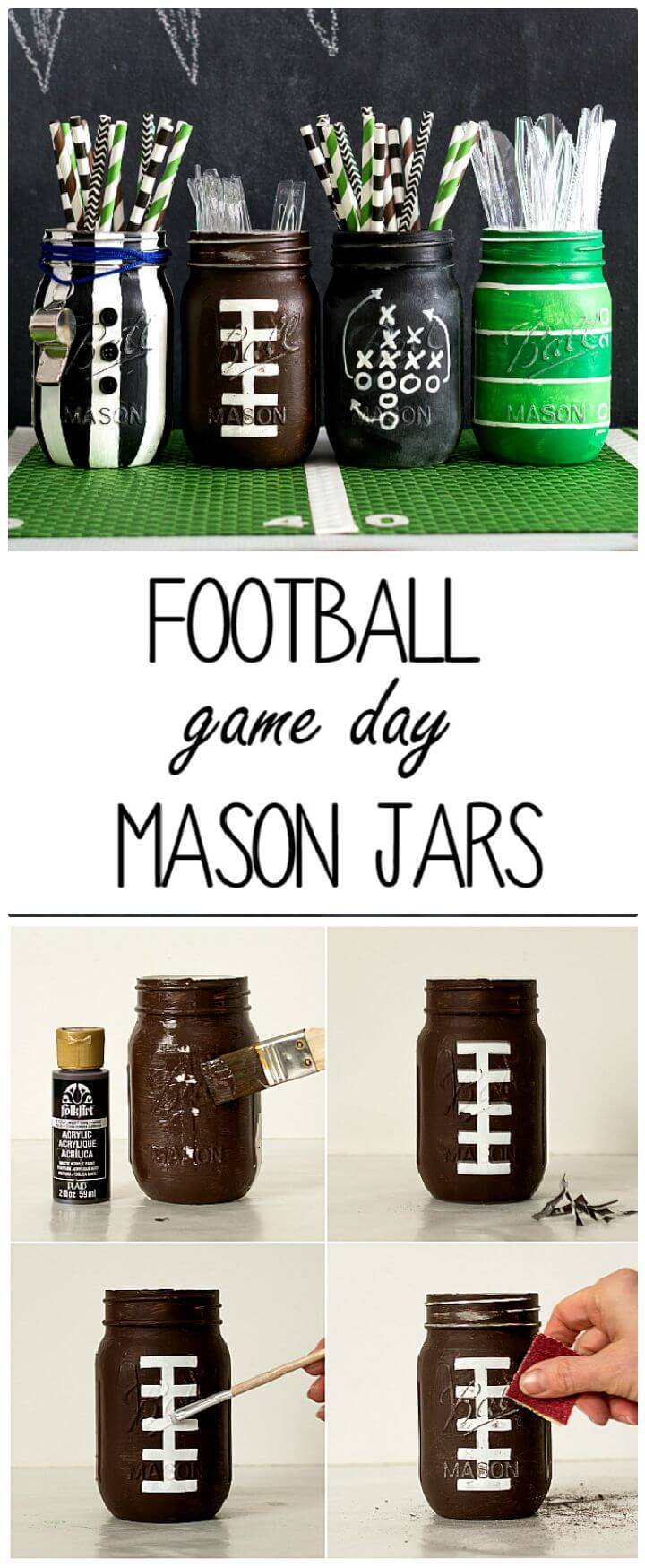 DIY Football Party Mason Jars