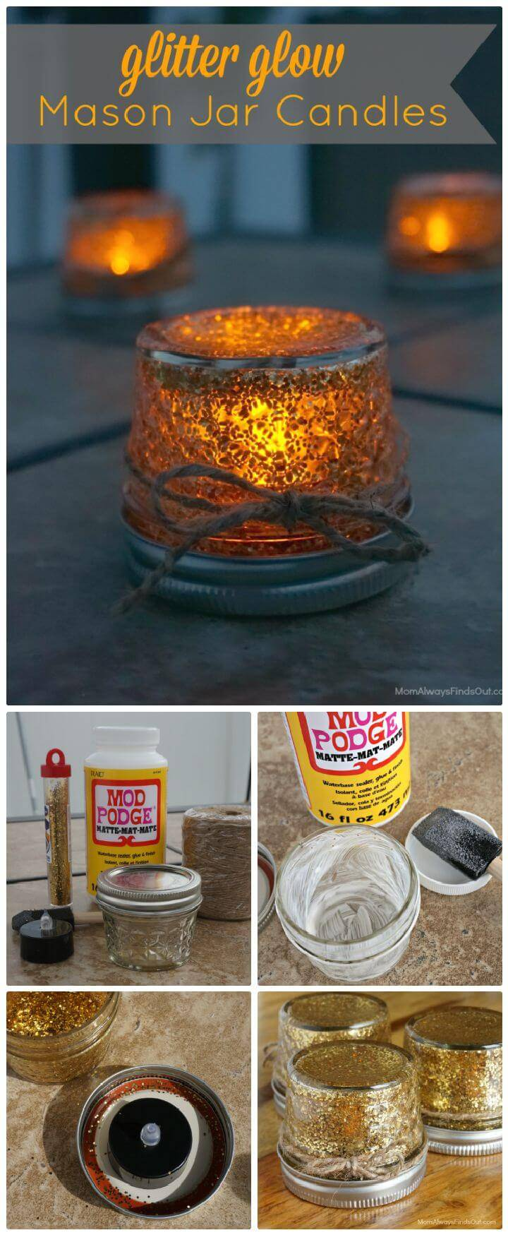 DIY Glitter Mason Jars with LED Tealight Candles Craft