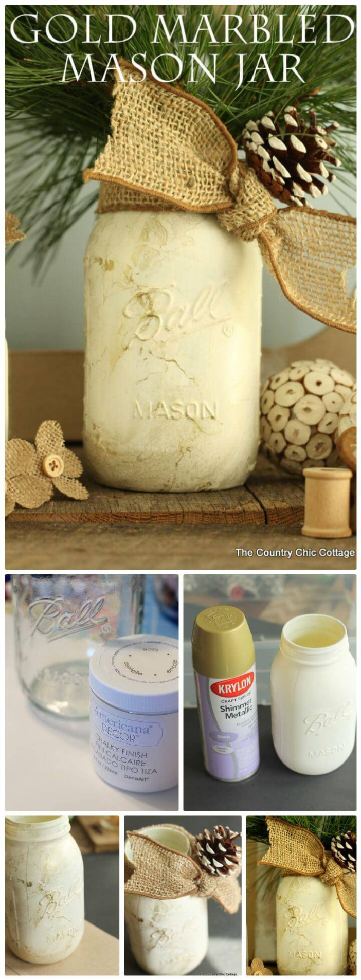 DIY Gold Marbled Mason Jar
