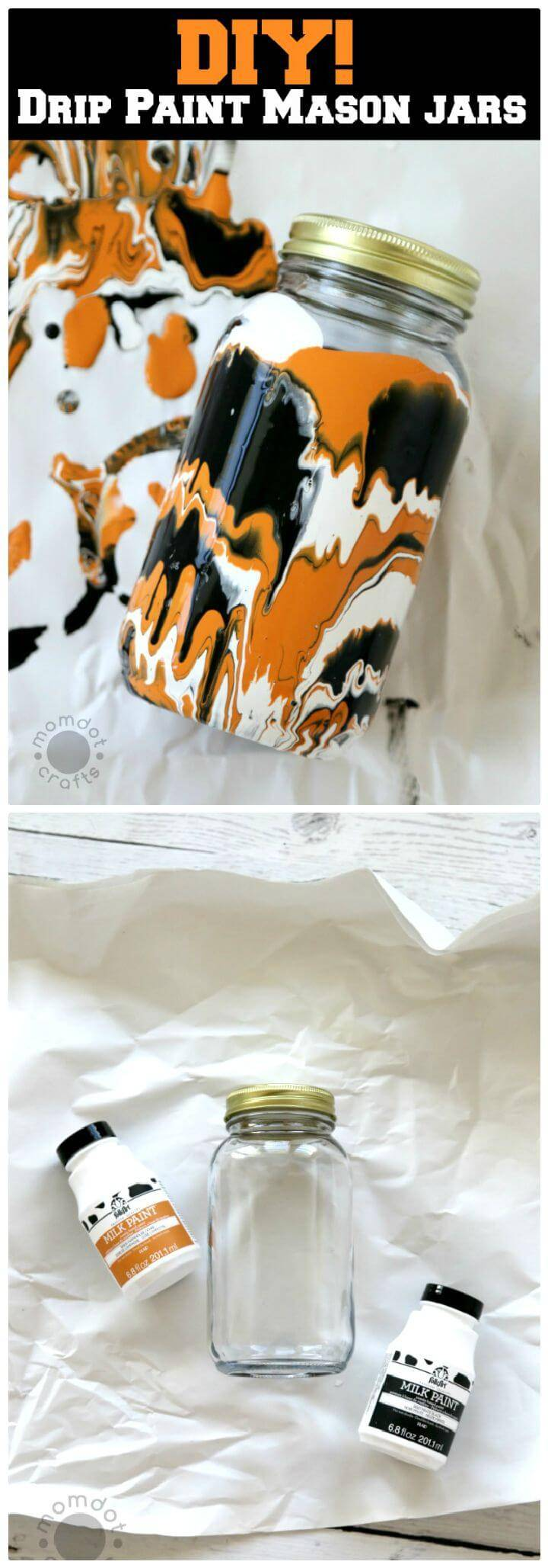 DIY Halloween Drip Painted Mason Jars