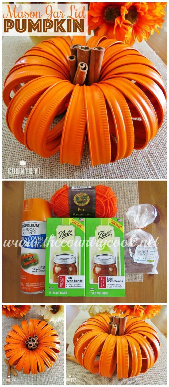 DIY Mason Jar Lid Pumpkins